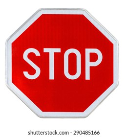 Red realistic stop road sign isolated on white