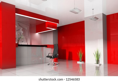 Red reception in modern hotel 3d image