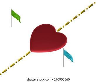 Red reflective heart with yellow boundary line and green and blue flags isolated on white