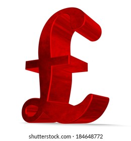 Red reflective pound sterling sign isolated on white
