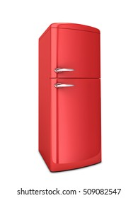Red refrigerator isolated on white. 3D rendering