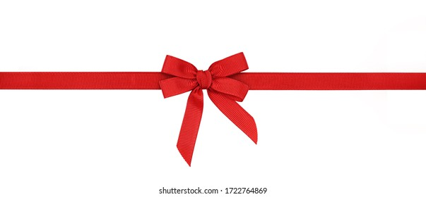 Red rep bow and ribbon isolated on white