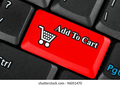 Red retail shopping cart icon button on a keyboard