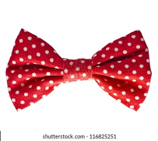 Red retro bow on white isolated on white background