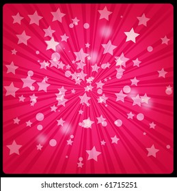 Red retro starburst background with snowflakes and stars.