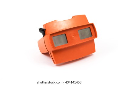 Red retro stereoscope isolated on white background