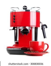 Red retro style coffee machine