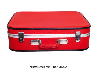 Red retro suitcase for travalling.