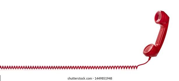 Red retro telephone handset isolated on white background