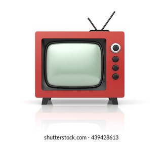 Red retro TV. 3d illustration