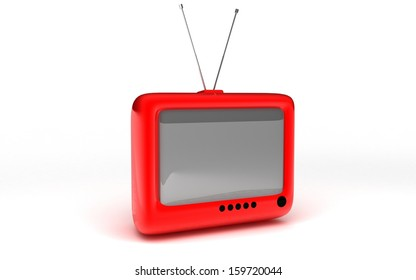 Red retro TV. Isolated on white background