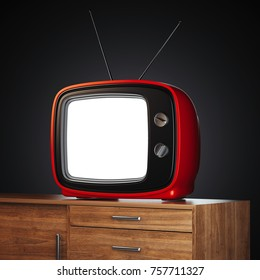 Red retro tv on wooden stand. 3d rendering