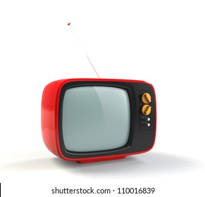 red retro TV with white background