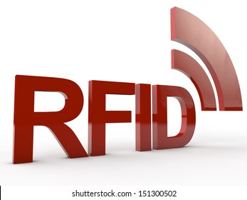 Red RFID Word with symbolic radio waves