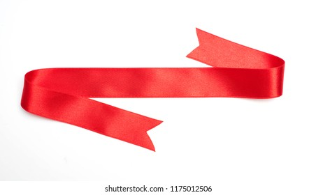 red ribbon banner on white background