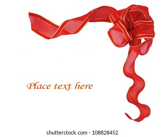 Red ribbon border suitable for christmas or valentines or other holiday decorations