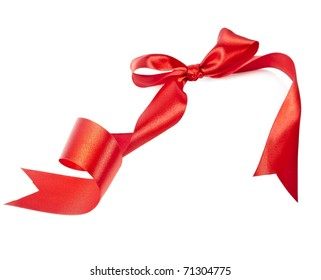 red ribbon bow with hearts isolated