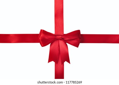 Red ribbon with bow isolated on white background. Clipping path included