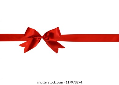red ribbon with bow isolated on white