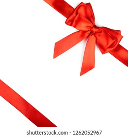 Red ribbon bow isolated on white background. Holyday's element