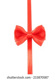 Red ribbon and red bow isolated on white