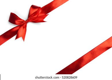 Red ribbon bow isolated on white background. Studio shot