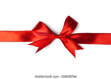 Red ribbon bow isolated on white background. Studio shot