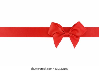 Red ribbon with bow isolated on white background