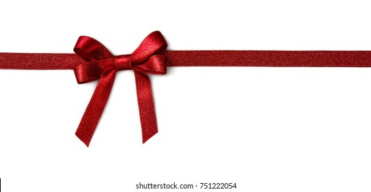 Red ribbon with a bow isolated on a white background
