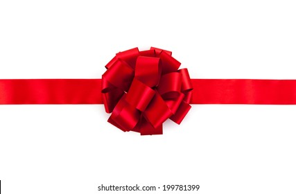 red ribbon with a bow on a white