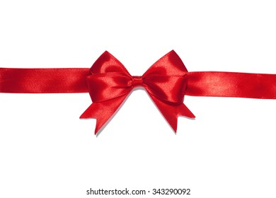 Red ribbon bow on white background. studio shot