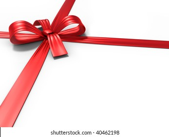 Red ribbon and bow on white surface
