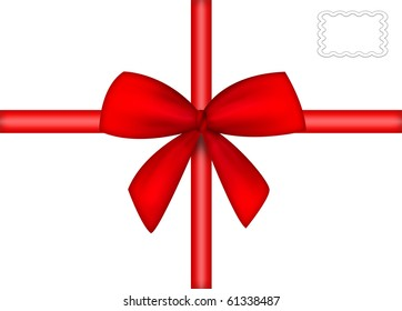 red ribbon, bow and stamp  isolated on white background with clipping path