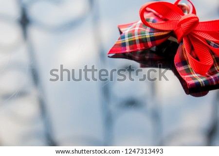 Red Ribbon Box Fabric On Dark Stock Photo Edit Now 1247313493