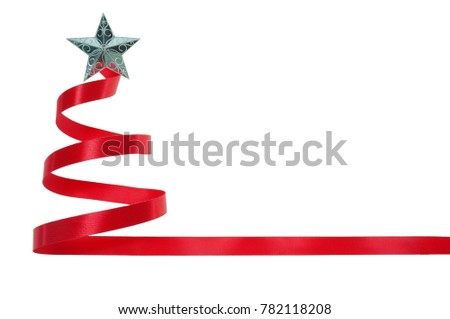 b765cb3b65fc Red ribbon Christmas tree has a silver star on the top on white background  with clipping