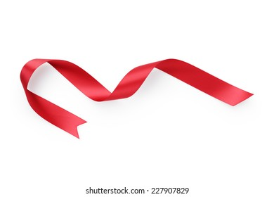 red ribbon curved shape, isolated on white
