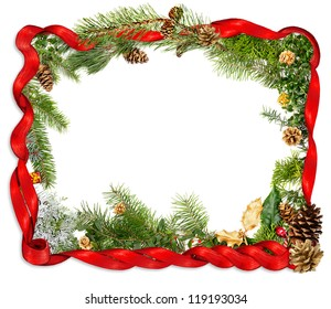 Red ribbon and foliage Christmas background