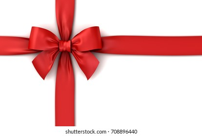 Red ribbon gift bow isolated on white background with shadow . 3D rendering.