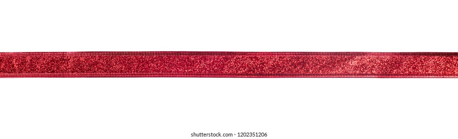 Red ribbon with glitter effect isolated on white background