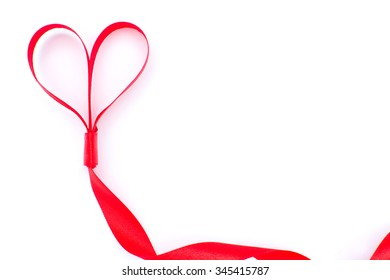 Red ribbon with heart shape
