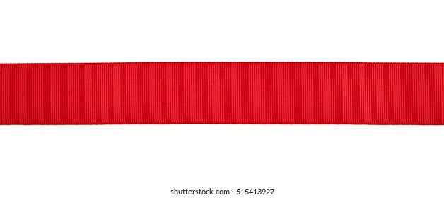 red ribbon isolated on white background closeup
