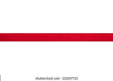 Red ribbon on white background with clipping path.