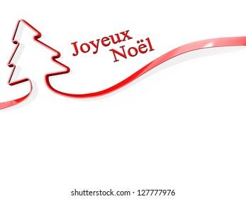 Red ribbon shaped like a Christmas Tree with Joyeux Noel