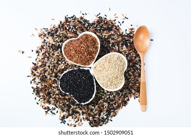 Red rice black rice brown rice three color miscellaneous grains health grain on white