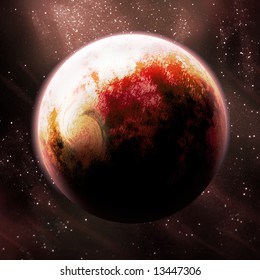 Red Rich Textured Planet with Stars behind