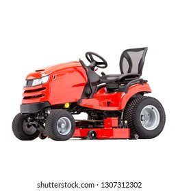 Red Ride-On Lawn Mower Isolated on White Background. Residential Riding Gasoline Lawnmower Machine. Side View of Modern Petrol Powered Grass Cutter. Garden Power Tool Equipment