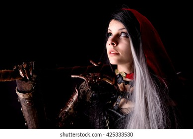 red riding hood isolated on a dark background