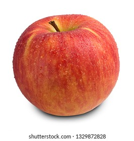 red ripe apple fruit with dew isolated on white background