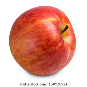 red ripe apple fruit isolated on white background