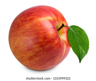 red ripe apple fruit with leaf isolated on white background